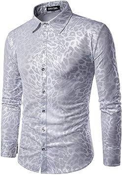 CHENS Camisa/Casual/Unisex/L Camisas de Hombre Personalidad de Moda Leopardo Serpiente Club Nocturno Vestido Hombre Ocio Camisa de Manga Larga Turncollar: Amazon.es: Deportes y aire libre