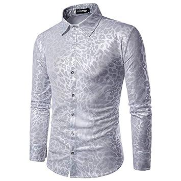 CHENS Camisa/Casual/Unisex/M Camisas de Hombre Personalidad de Moda Leopardo Serpiente Club Nocturno Vestido Hombre Ocio Camisa de Manga Larga Turncollar: Amazon.es: Deportes y aire libre