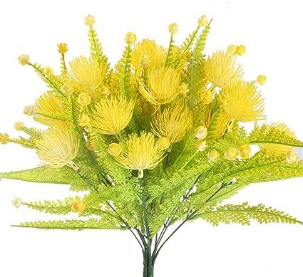 Mihounion 4 Fausse Plante Decoration Plastique Faux Arbuste Exterieur Cimetiere Décoration à Pot Fleur Pour Balcon Jardin Chambre Buisson Artificiel Jaune Amazon Fr Cuisine Maison