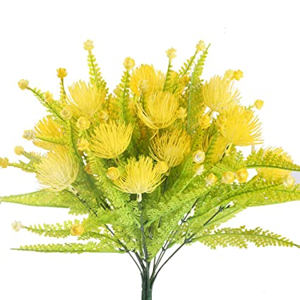 Amazon huaesin fake yellow flowers for outside artificial huaesin fake yellow flowers for outside artificial flower arrangements plastic faux flowers bushes shrubs for hanging mightylinksfo