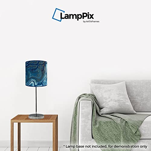LampPix 10 Inch Table Lamp Shade – Marble Blue Canvas Desk Lampshade Spider Fitting