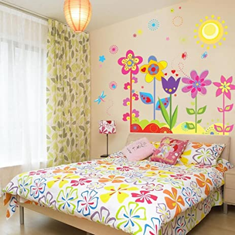 ussore wall sticker flower butterfly removable vinyl decal art for kids home living room house bedroom