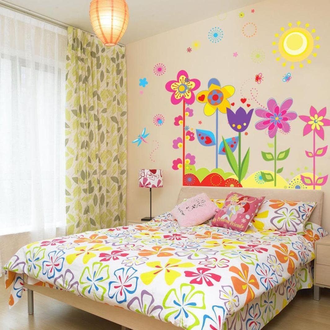 Amazon.com: Flower Wall Stickers for Kids - Floral Garden Wall ...
