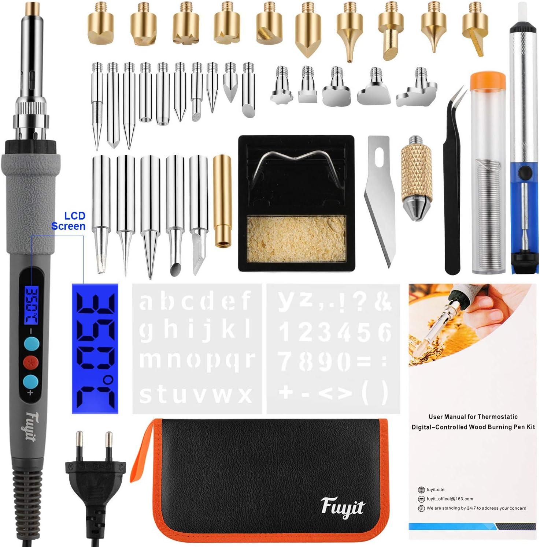 Pirograbador de Madera con LCD, Fuyit 42pcs Kit Electrodos Soldadura, 60W Temperatura Regulable(180〜480℃/356〜896℉), Profesional para Madera, Cuero, Grabado (42pcs)