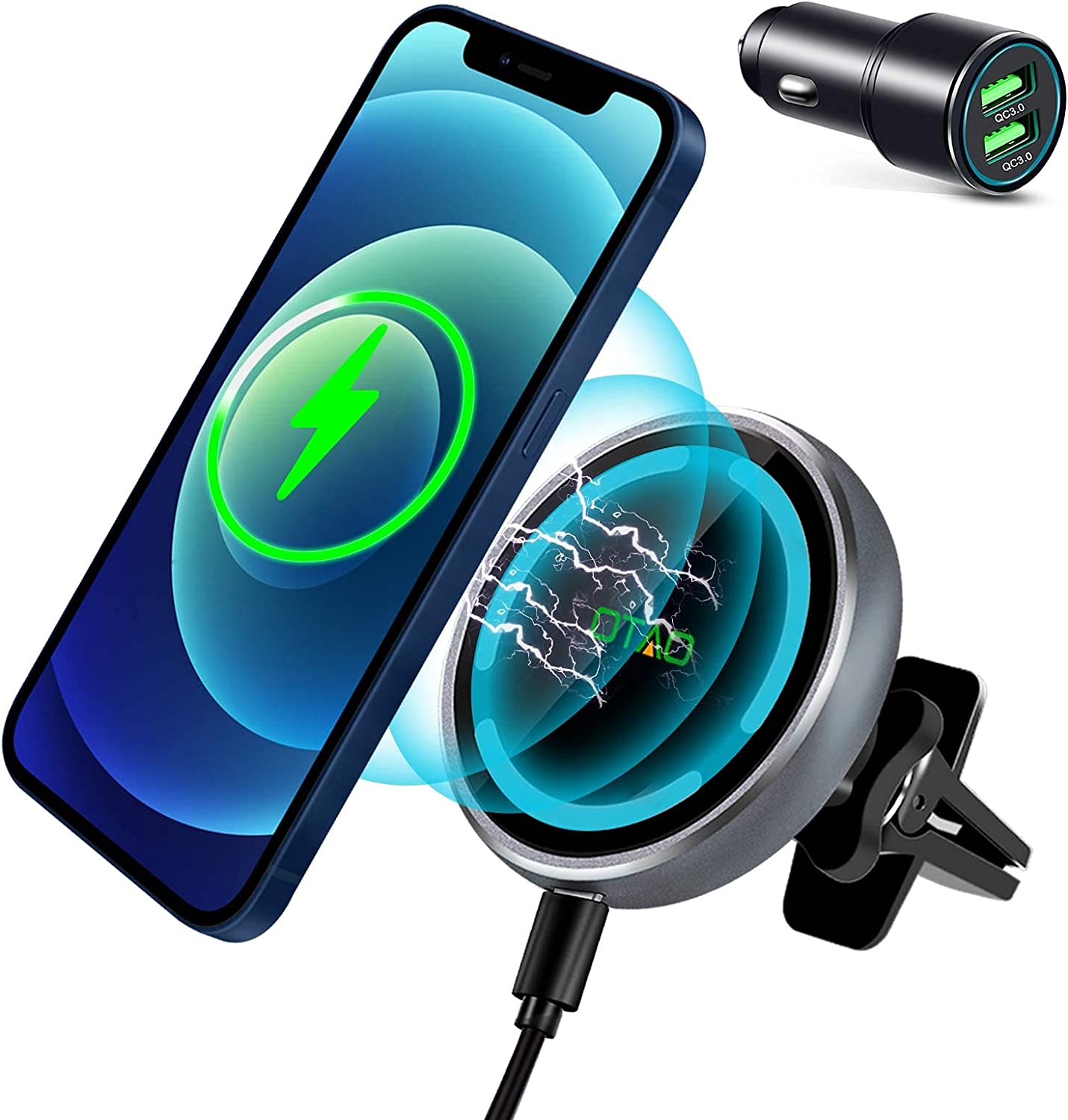 Magnetic Wireless Car Charger for iPhone 12/12 Pro /12 Pro Max /12 Mini,OTAO Fast Charging Car Mount [with QC3.0 Adapter],Compatible with MagSafe Cases, Adjustable Air Vent Clamp Car Phone Holder