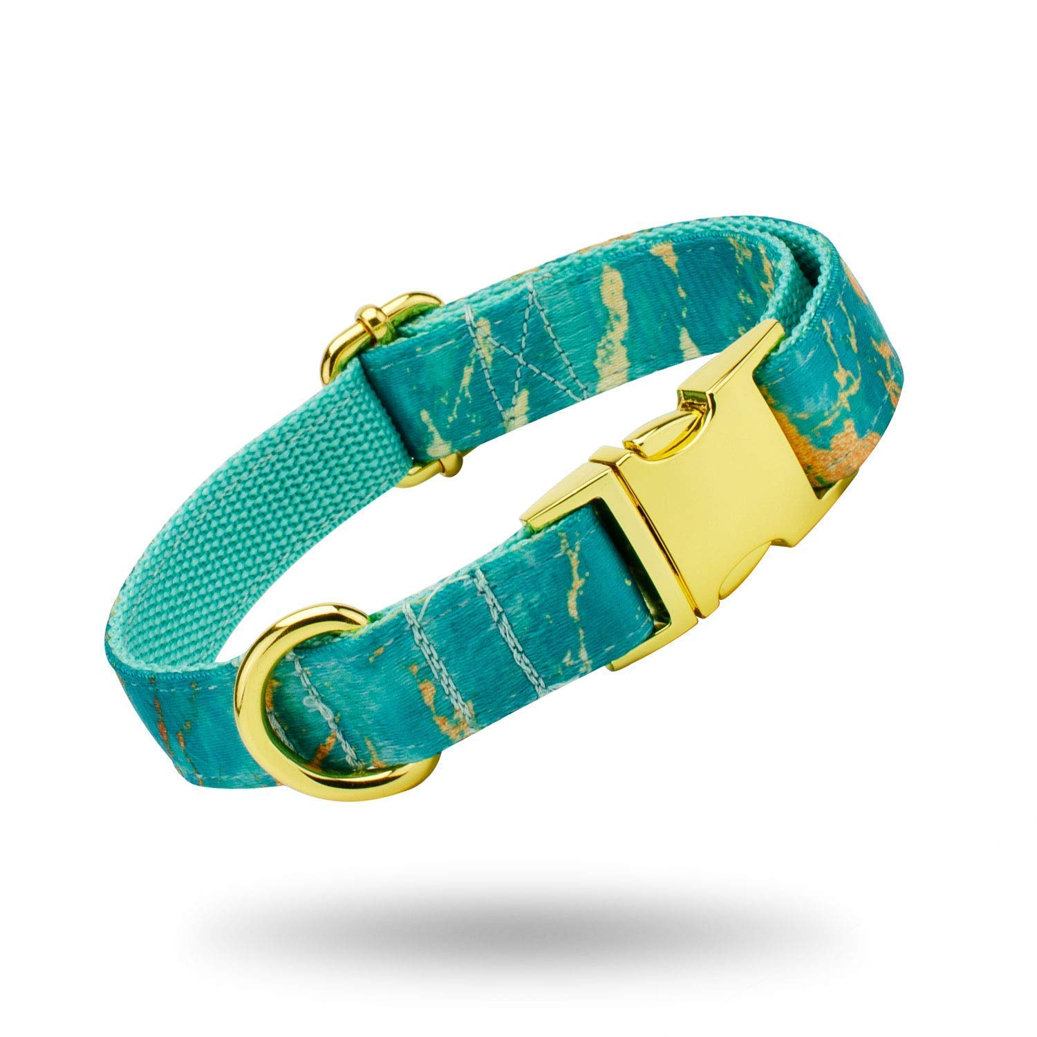 Elegant Turquoise and Gold Marble Print Dog Collar and Leash Set, Adjustable with Gold Metal Quick Release Buckle - Handmade Luxury Collars for X-Small, Medium, Large Dogs