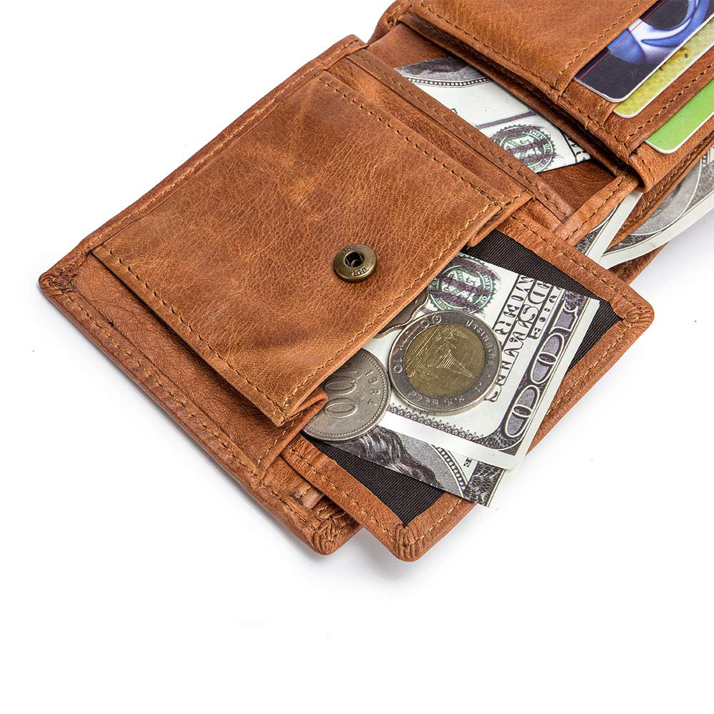 Mens Leather Wallet Rfid Blocking Bifold Coin Pocket Wallet with Flip ID Window