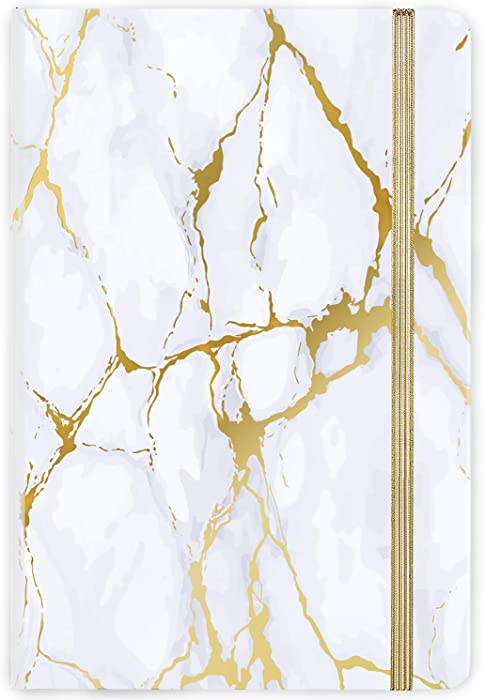 """Ruled Notebook/Journal - Hardcover Lined Notebook with Premium Thick Paper, College Lined Journal, 5.8""""×8.4"""", Gold & White Marble Pattern, Perfect for Office Home School Business Writing & Note Taking"""