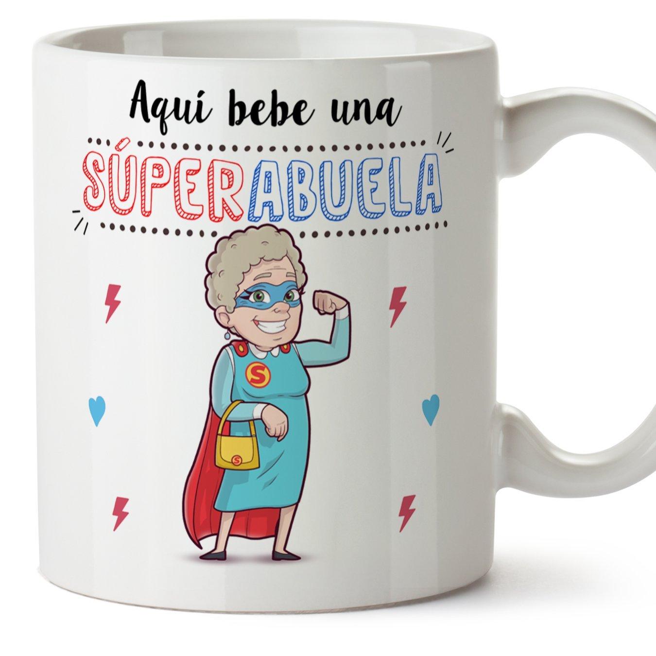 Tazas para Abuelas – AQUÍ Bebe UNA Super Abuela – La Mejor Taza Desayuno del Mundo