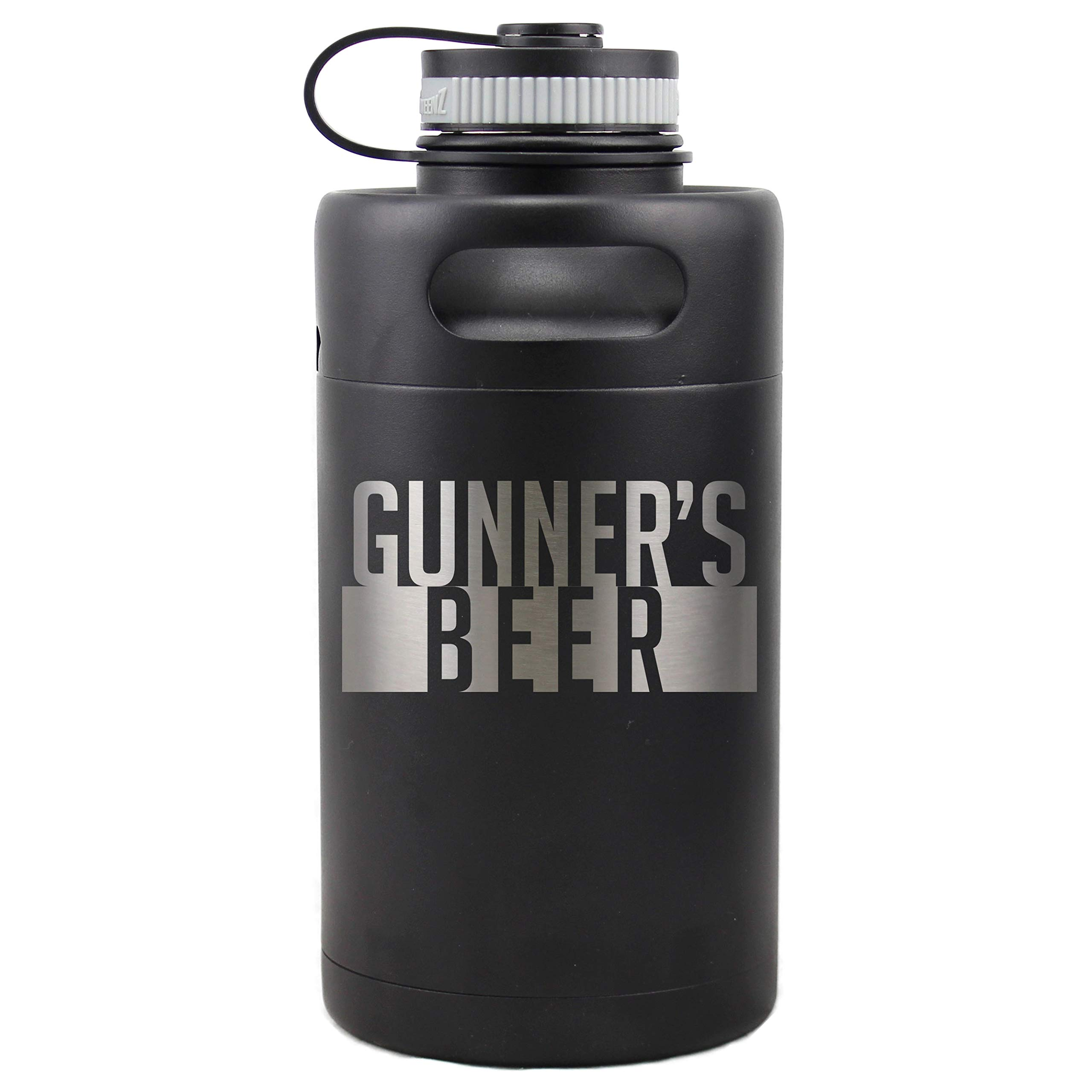 Personalized Etched Insulated Beer Growler 64oz Keg (Matte Black)