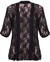 Womens Floral Lace Short Turn Up Cuff Sleeve Ladies Waterfall Front Open Cardigan Top Plus Size