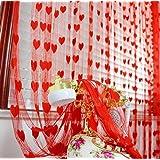 Finestra tenda, Tefamore cute Heart linea nappa stringa porta tenda 200cm x 100 cm /78.74'inch x 39.37'inch Red