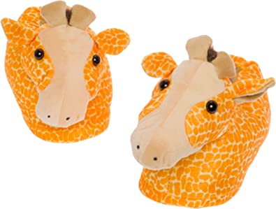 b4b6cb9bef43 Silver Lilly Giraffe Slippers - Plush Animal Slippers w Comfort Foam  Support (Orange