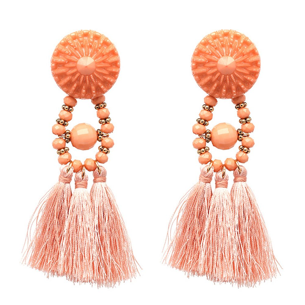 JUST N1 Women's Girls Elegant Jewellery Handmade Bohemia Ethnic Tassels Dangle Stud Earrings Eardrop Red (Pink) by JUST N1