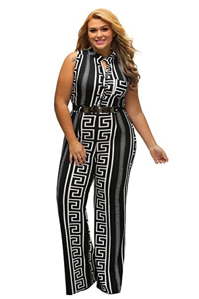 770b4fe42c3e Women s Plus Size Print Gold Belted Jumpsuit  Amazon.ca  Clothing    Accessories