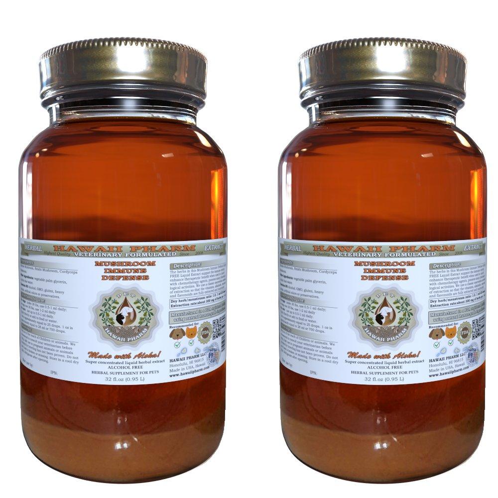 Mushroom Immune Defense, VETERINARY Natural Alcohol-FREE Liquid Extract, Pet Herbal Supplement 2x32 oz