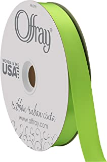 "product image for Berwick Offray 7/8"" Wide Double Face Satin Ribbon, Chartreuse Green, 100 Yards"