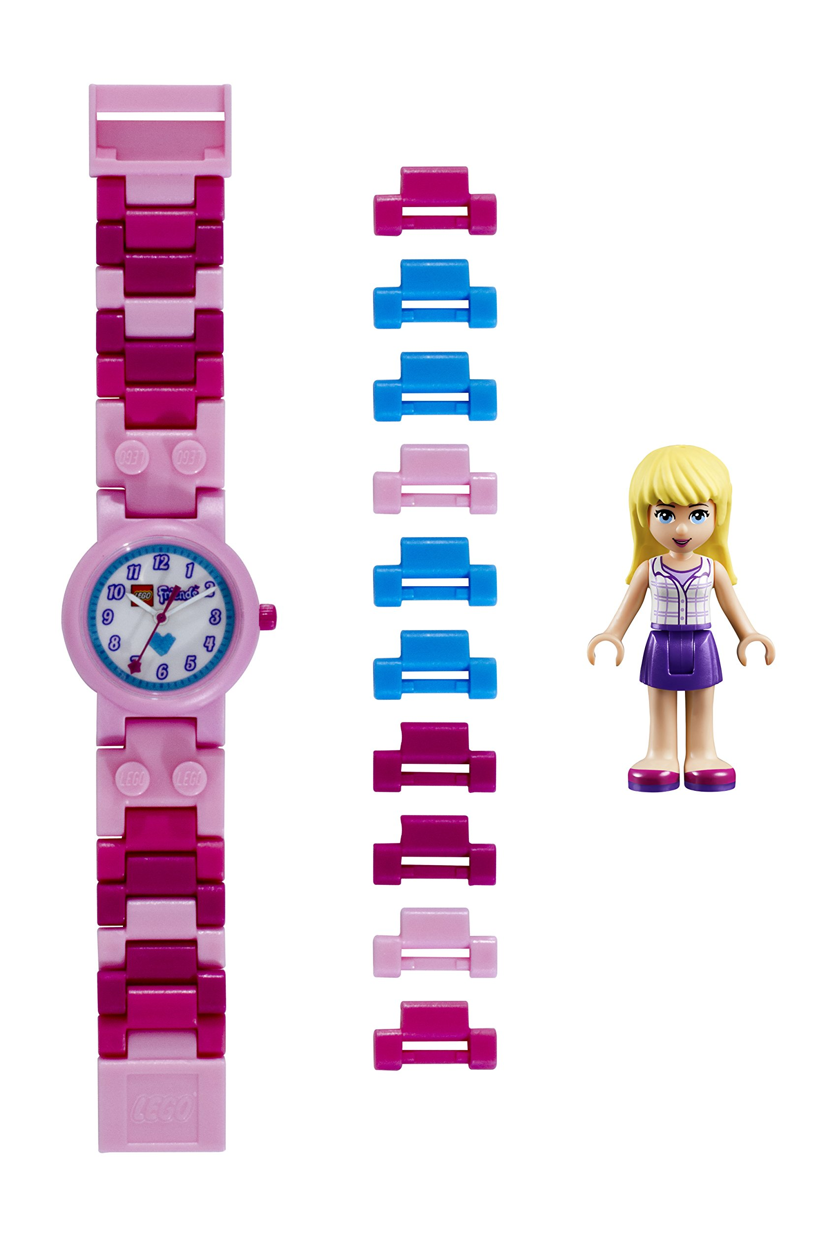 Lego Friends 8020172 Stephanie Kids Buildable Watch with Link Bracelet and Minifigure | Pink/White | Plastic | 25mm case Diameter| Analog Quartz | boy Girl | Official