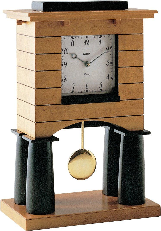 Alessi 03_13 Mantel Clock Orologio a Pendolo in Legno Impiallacciato in Acero