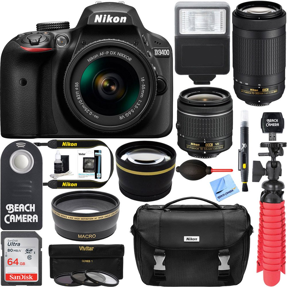 Amazon.com : Nikon D3400 24.2 MP DSLR Camera + AF-P DX 18-55mm ...