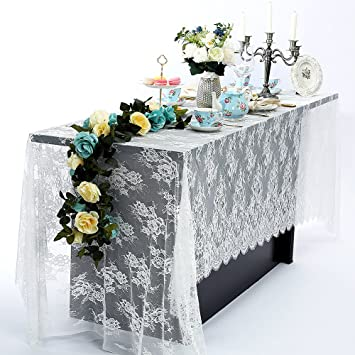 60 X 120 Inch Vintage Wedding White Lace Tablecloths, Rose Floral Lace Table  Runner Overlay