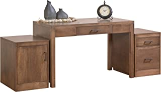 """product image for DutchCrafters Amish Solid Wood 48"""" Office Writing Desk with Rolling Drawer Cabinet and Rolling Door File Cabinet Made in America"""
