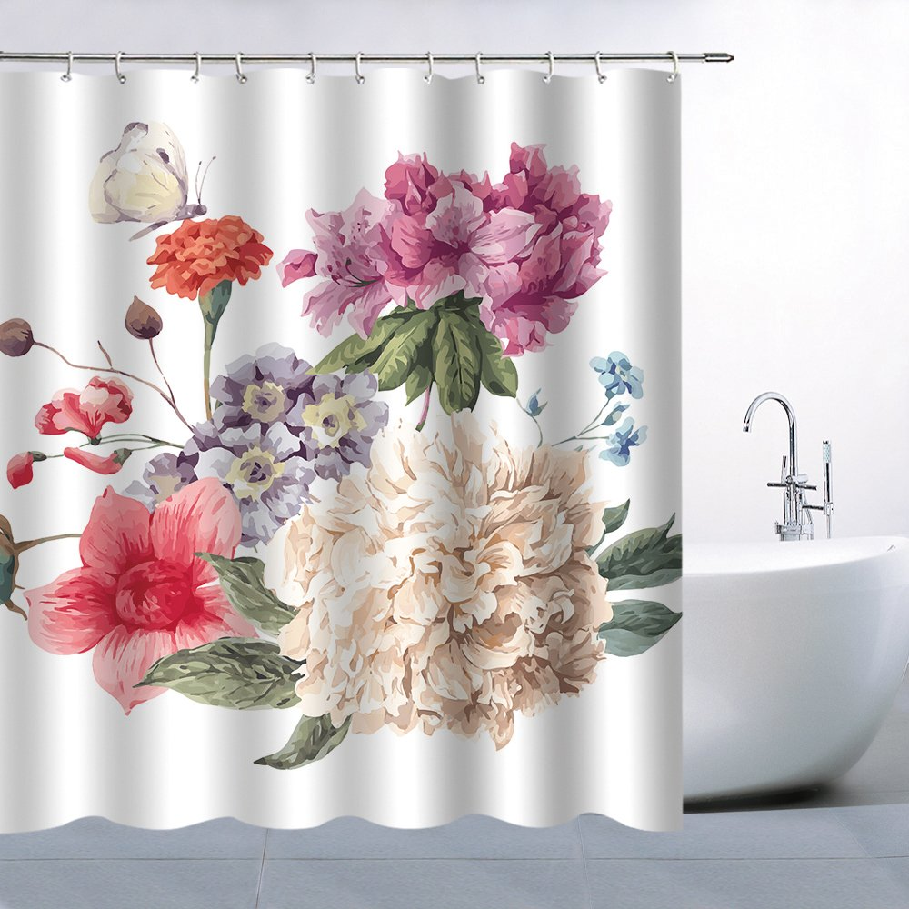 Flower Shower Curtain Decor Colorful Red White Purple Orange Magenta Blue Green Leaf Leaves Butterfly 70x70 Inches Waterproof Mildew Resistant