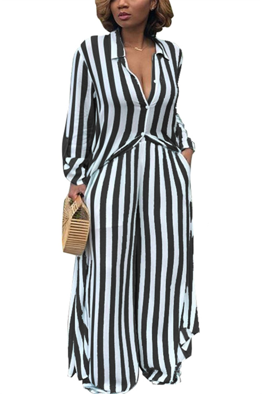 ReachMe Womens Striped Button Down Maxi Dress Loose 2 Piece Outfit Wide Leg Pants(Black,2XL)