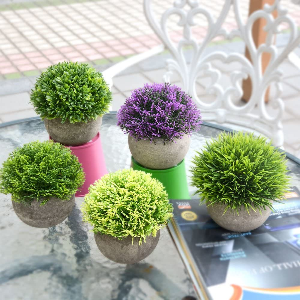 Potted Plants The Bloom Times Artificial Faux Greenery for House Decorations Small Fake Plant for Bathroom//Home Decor