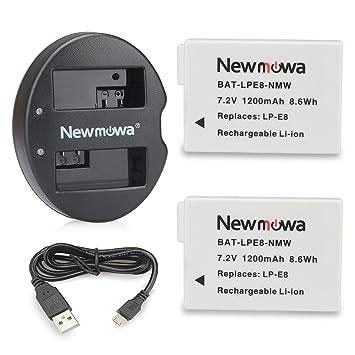Newmowa LP-E8 Batería de Repuesto (2-Pack) y Kit de Cargador ...