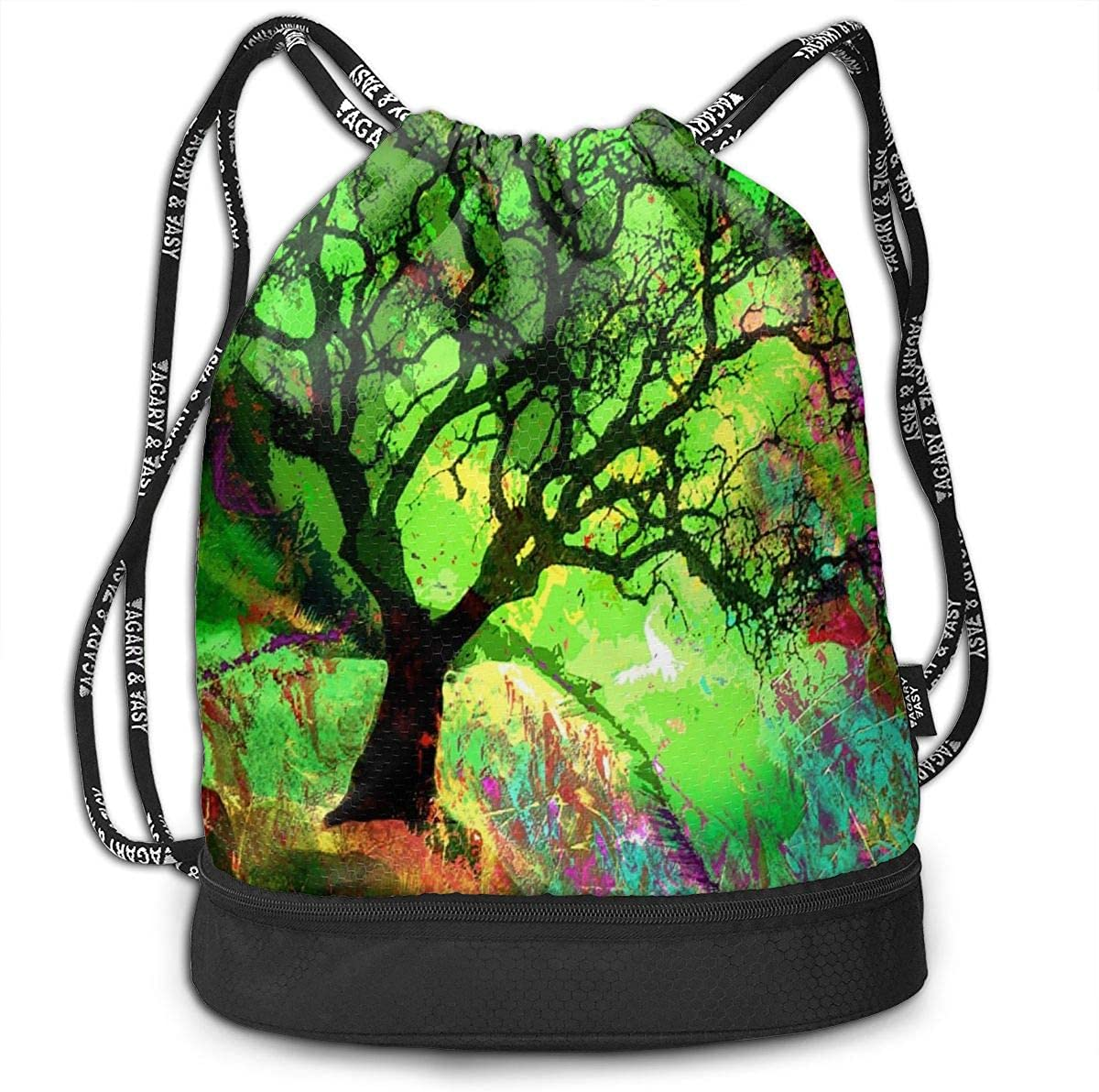 Fantasy Cool Wolves Art Drawstring Bag For Girls /& Boys Portable Bundle Backpack Gym Yoga Runner Sports Daypack