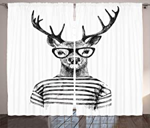 Ambesonne Deer Curtains, Dressed up Reindeer Headed Human Hipster Style with Glasses Stripped Shirt, Living Room Bedroom Window Drapes 2 Panel Set, 108