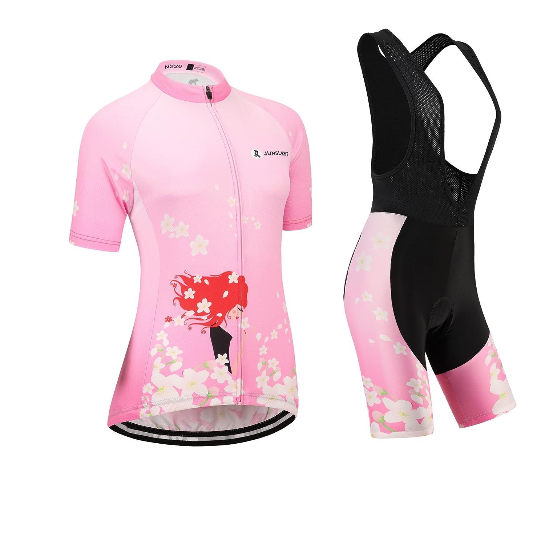 Cycling Jersey Setレディース半袖(S ~ 5 X L、オプション:よだれかけ、3dパッド) n226 B01BX31YXY  種類: セット(ブラック前掛け) (General pad)(Bust 43-45inchs)