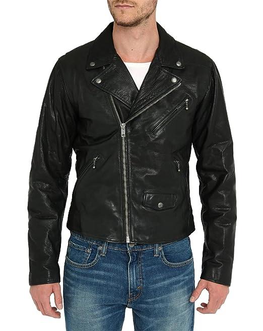 Levis Hombre Moto Chaqueta de Cuero, Negro, X-Large
