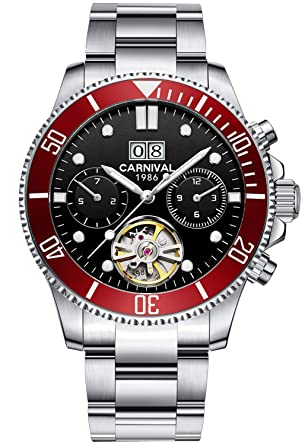 3c2888ed0ad PASOY Mens Automatic Watch Luminous Dial Sapphire Tourbillon Date Military  Mechanical Waterproof Watches (red