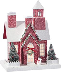 11.25-Inch Rustic Lighted Red Christmas House Decoration – Tabletop Decorative Holiday Home Decor with Timer