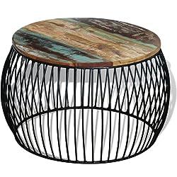 vidaXL Table Basse Ronde 68 x 43 cm Bois de récupération Massif Table d'appoint