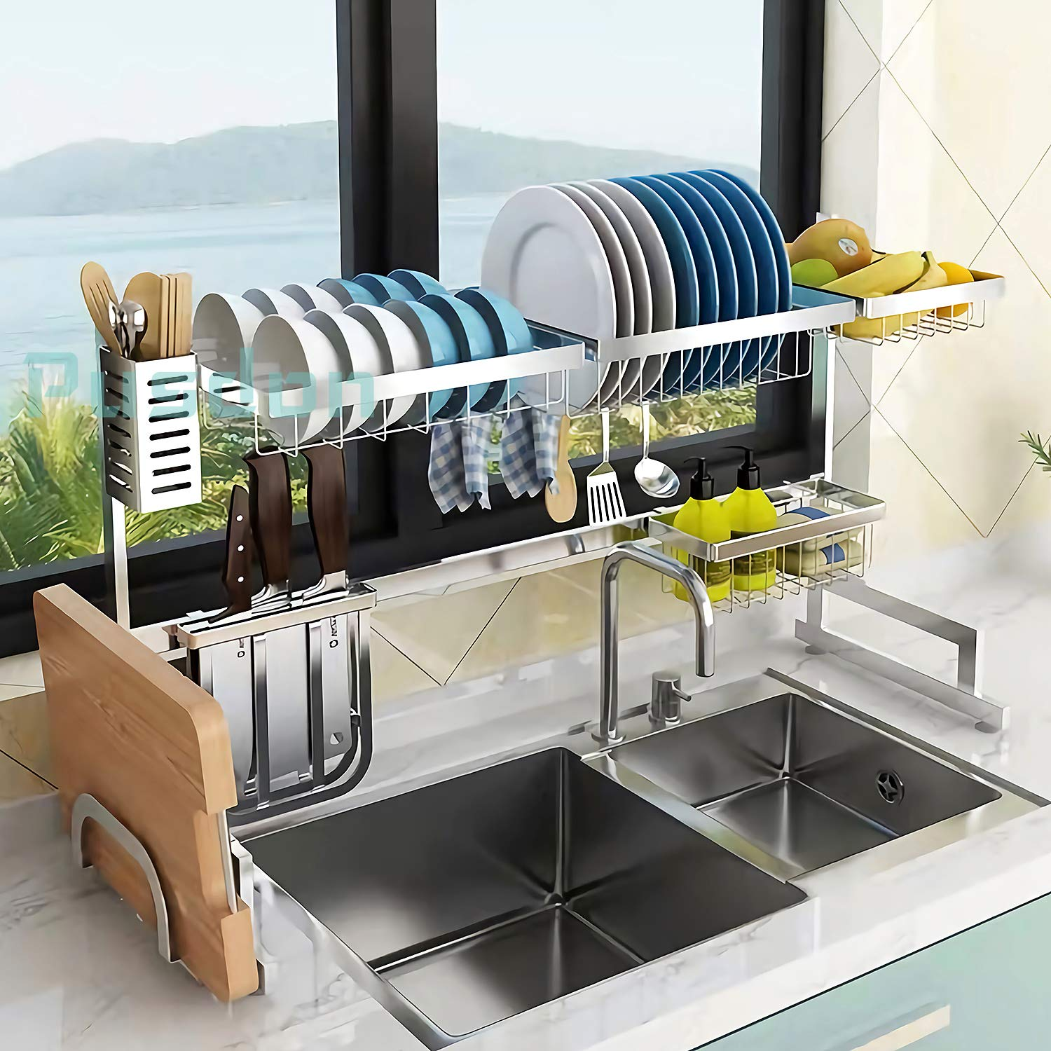 Dish Drying Rack Over Sink, Drainer Shelf for Kitchen Supplies Storage Counter Organizer Utensils Holder Stainless Steel Display- Kitchen Space Save Must Have (Sink size ≤ 32 1/2 inch, silver)