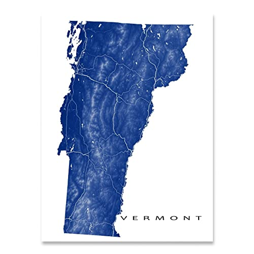 vermont map art print vt state outline usa wall poster burlington