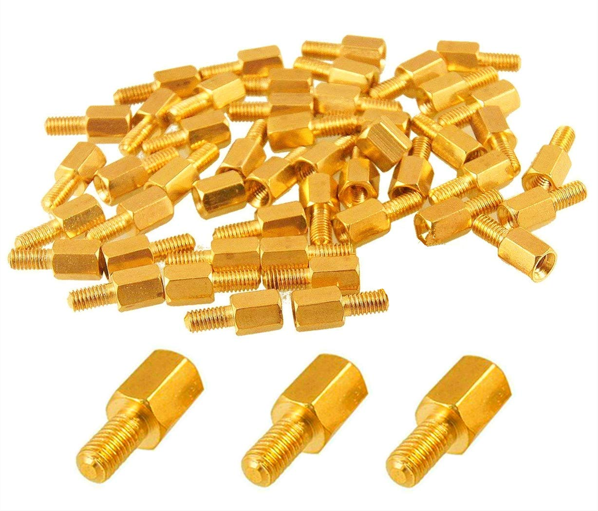M3 3mm Female To Male Brass Hex Hexagonal Pillars PCB Threaded Standoff Spacers