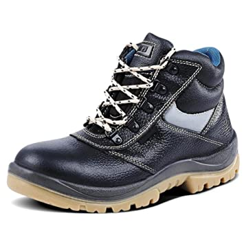 NANYDXIE Hombres Y Mujeres Piel Genuina Cabeza De Acero Cima Mas Alta Anti-Smashing Anti-pinchazo Botas de Trabajo Soldador Cocinero Proteccion Zapatos De ...