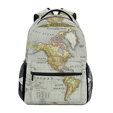 Amazon Com Backpack Travel World Map Painting School Bookbags