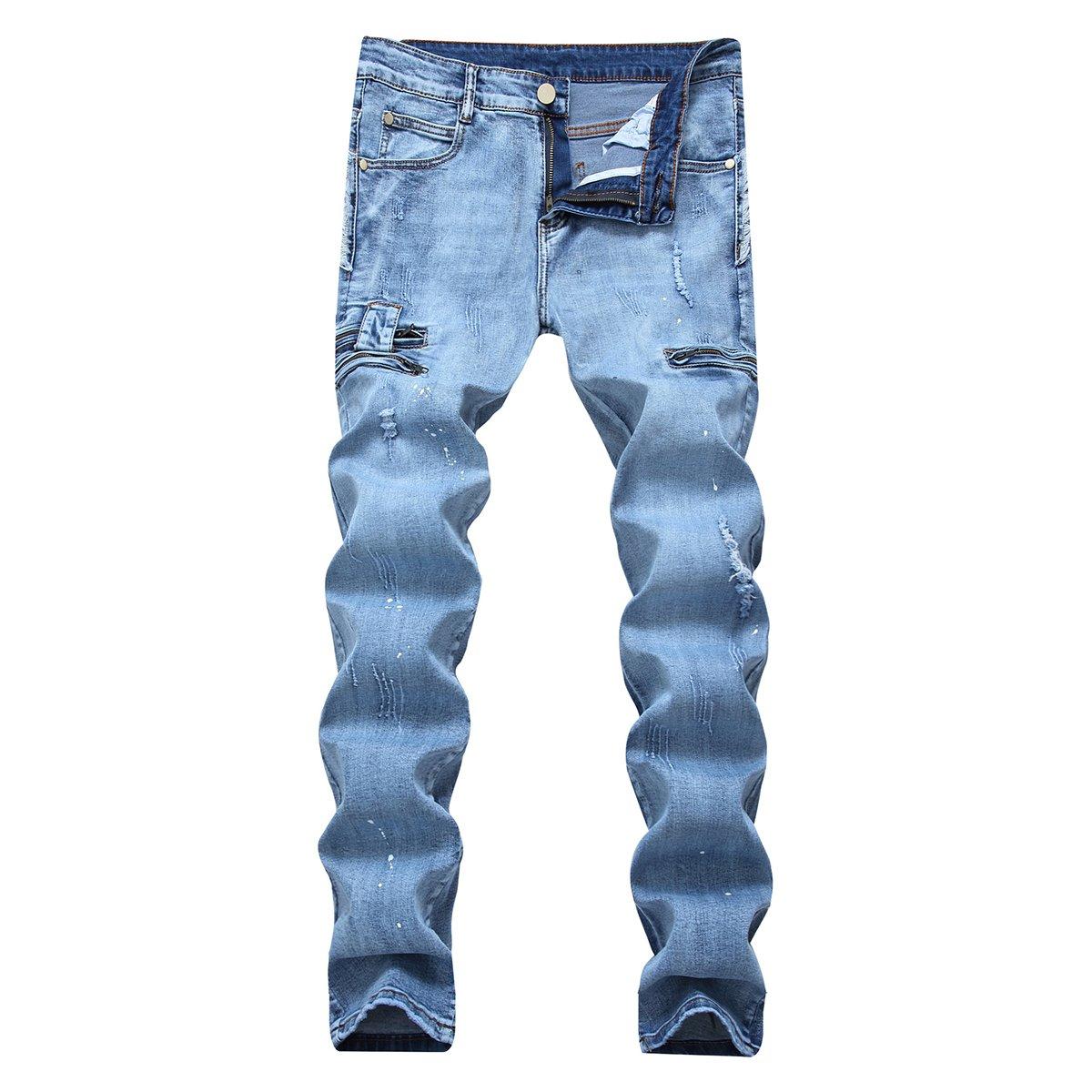Pishon Men's Ripped Jeans Black Stretch Slim Distressed Straight Leg Biker Jeans, Light Blue, 28