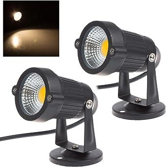 2 x Focos Proyector LED Exterior Jardín IP65 COB 5W 220V Blanco Cálido: Amazon.es: Iluminación