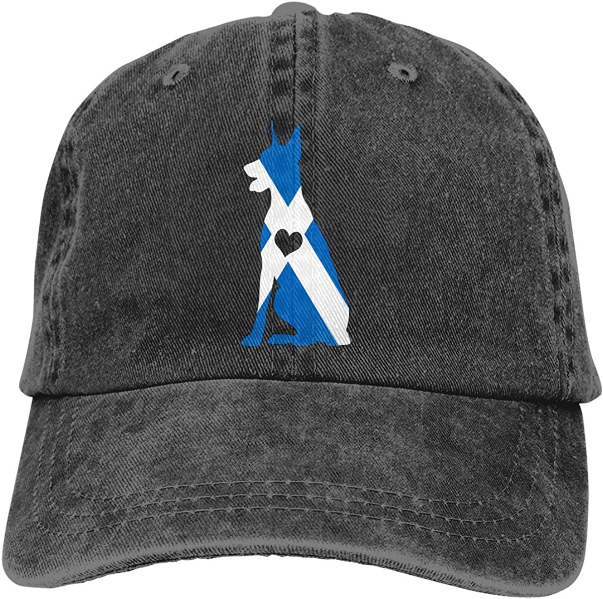 Re&Tro Men Women Scotland Flag Adore Dobermans Dog Adjustable Jeans Baseball Cap Outdoor Sports Hat