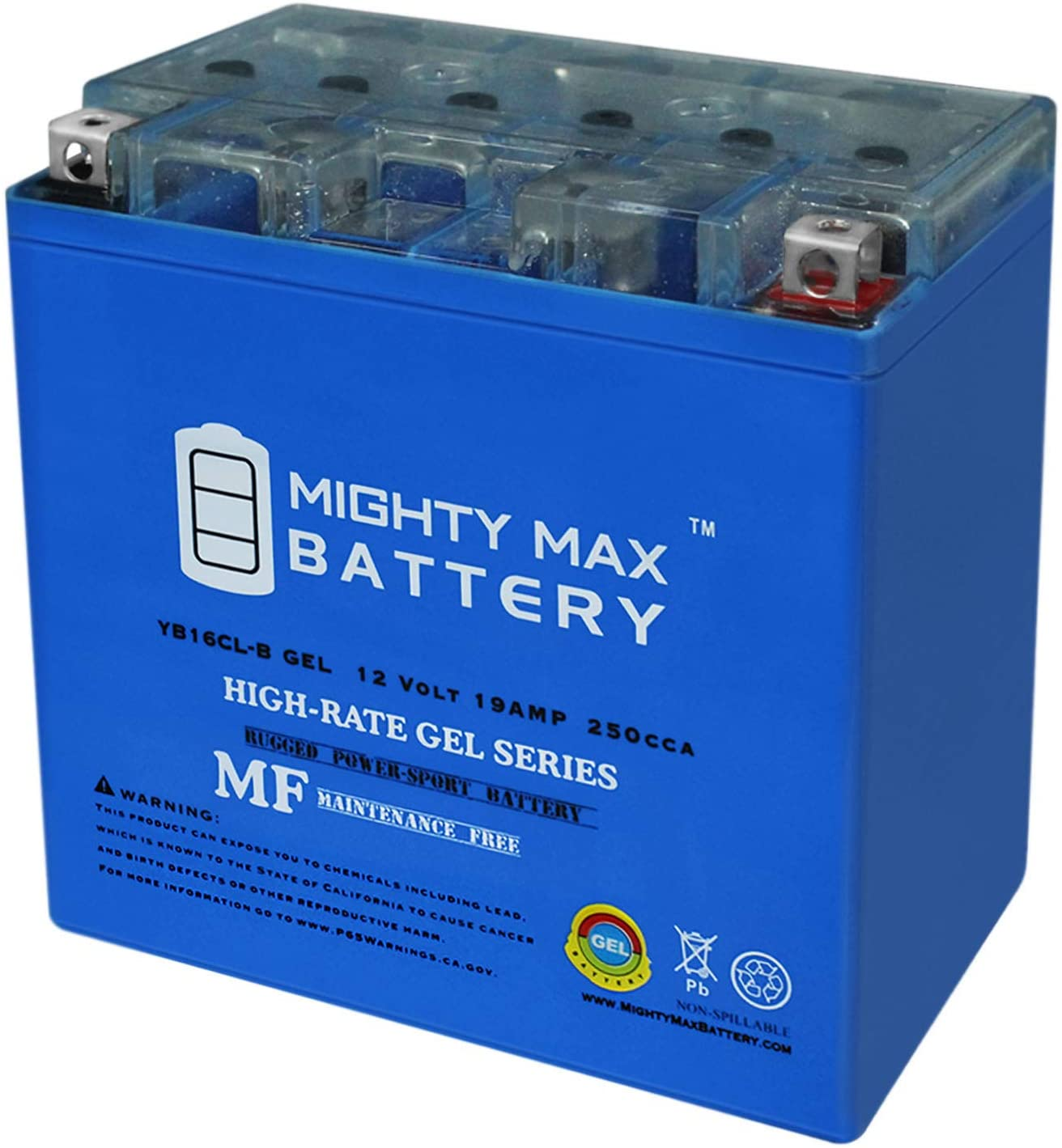 Sealed /& Maintenance Free Rechargeable AGM Battery Chrome Battery Replacement YB16CL-BS Jet Ski Battery /& Watercraft Battery