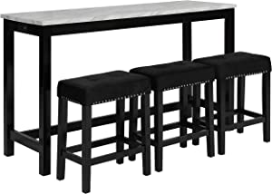 New Classic Furniture Celeste Faux Marble Theater Table with 3 Bar Stool Set, Black