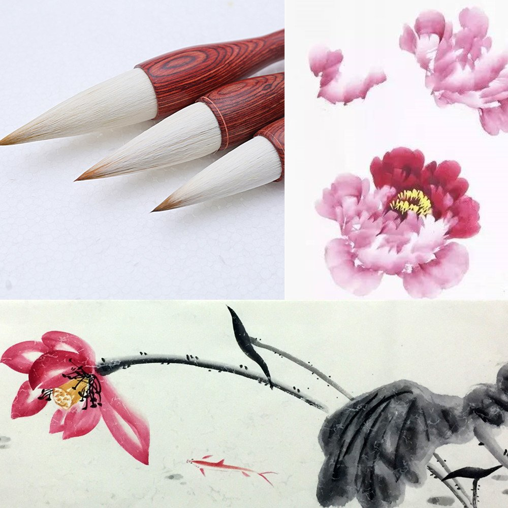 MB001 Hmay Artist's Calligraphy and Sumi Brushes 3pcs/pack - Good for Flower Painting: Lotus & Peony, etc. & Lishu Style Calligraphy