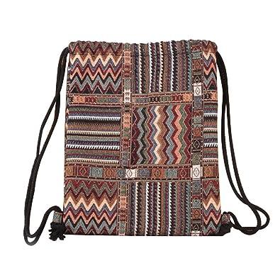 8e3451779e Women Backpack Daypack Rucksack School Bag Bohemia Printing Drawstring  Large Capacity Bucket Bag Travel Shoulder Bookbag Satchel Canvas Fashion  Casual For ...