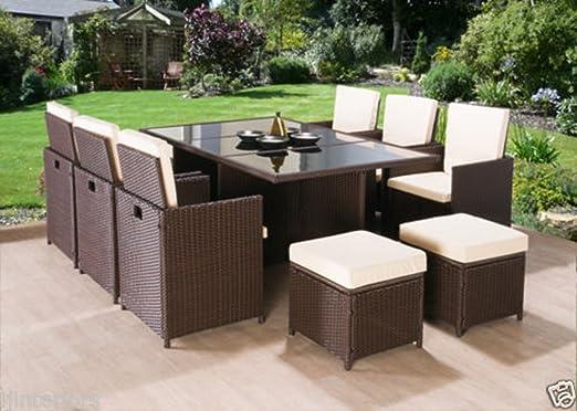SSITG RATTAN - Juego de muebles de jardín de ratán y sillas para sofá, mesa o patio de 8 plazas: Amazon.es: Hogar